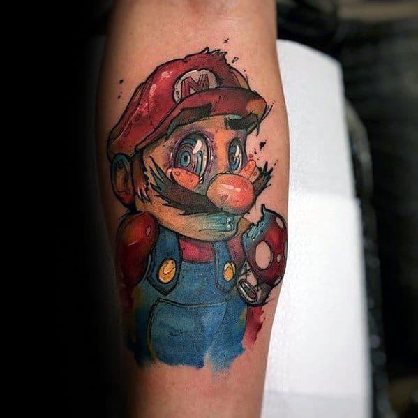 Incredible Gamer Mario Inner Forearm Tattoos For Men
