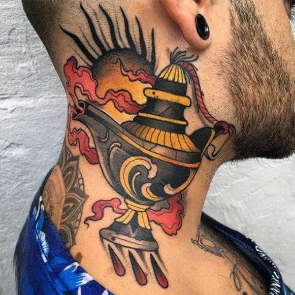 Incredible Genie Lamp Neo Traditional Neck Tattoos For Men