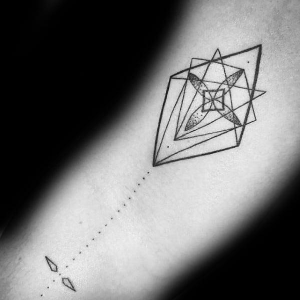 Incredible Geometric Arm Kite Tattoos For Men