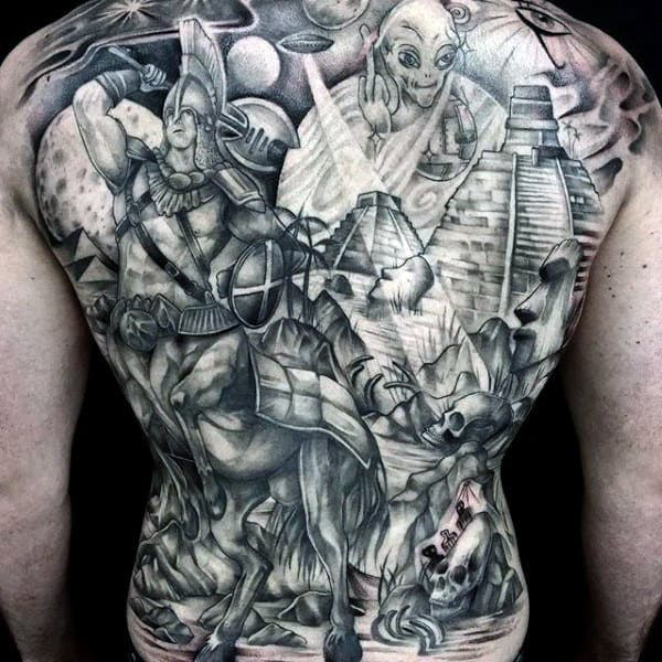 Incredible Grey Outer Space Themed Tattoo Guys Full Back