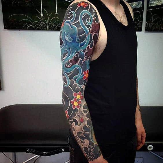 Incredible Guys Blue Japanese Traditional Octopus Full Sleeve Tattoo