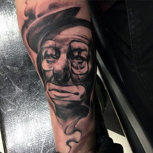 Incredible Guys Clown Outer Forearm Tattoo Ideas