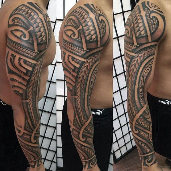 Incredible Guys Full Arm Polynesian Tribal Sleeve Tattoos