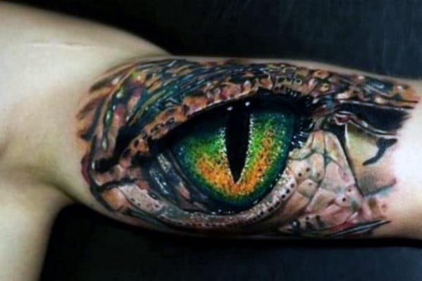 Incredible Guys Green Realistic Dragon Eye On Inner Arm