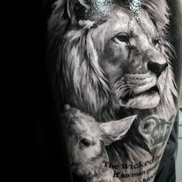 Incredible Guys Realistic Lion Sleeve Tattoo Inspiration