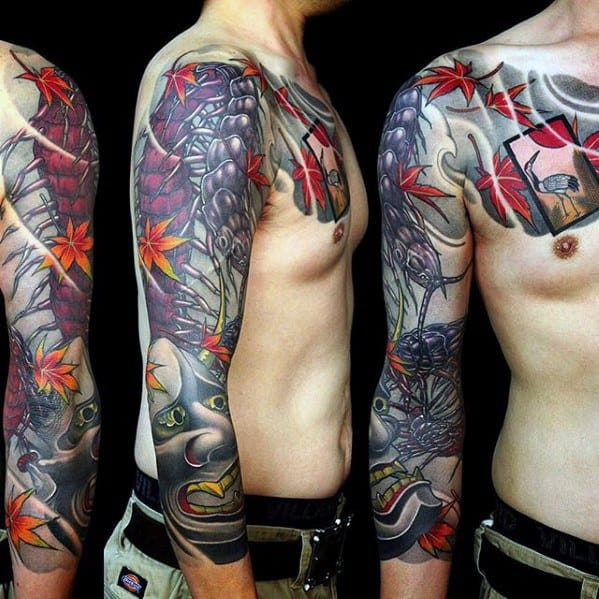 Incredible Half Sleeve Japanese Centipede Tattoos For Men
