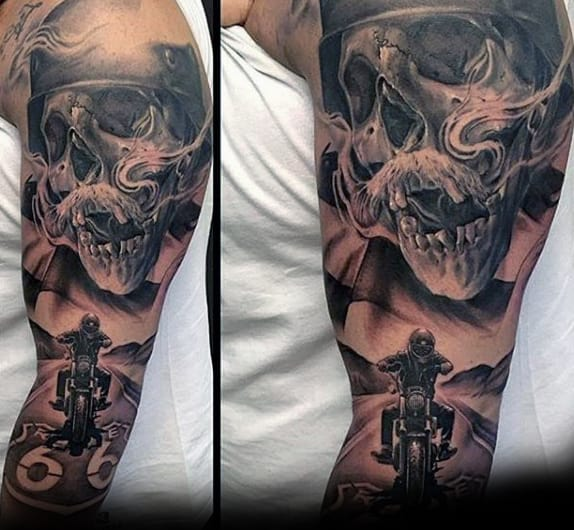 Incredible Harley Davidson Skull Motorcycle Rider Guys Sleeve Tattoo