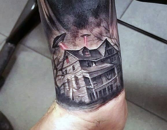 Incredible Haunted House Tattoos For Men