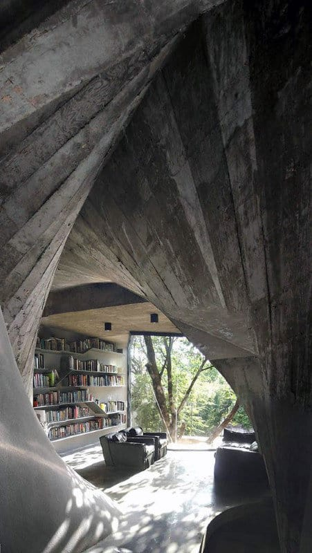 Incredible Home Library Cave Design With Outdoor Window Nature View