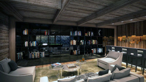 Incredible Home Library With Wet Bar