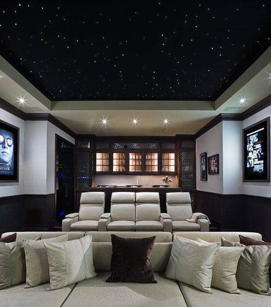 Incredible Home Theater Design Idea With Light Up Black Star Ceiling