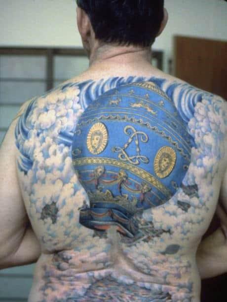 Incredible Hot Air Balloon Mens Full Back Tattoos