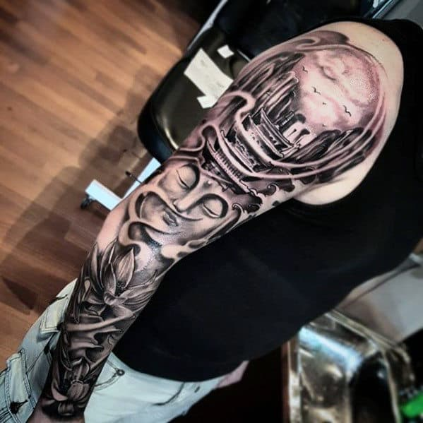 Incredible Japanese Temple Full Sleeve Tattoos For Gentlemen