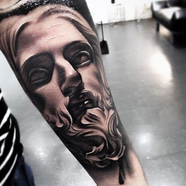 Incredible Jesus Face Male Shaded Outer Forearm Tattoos