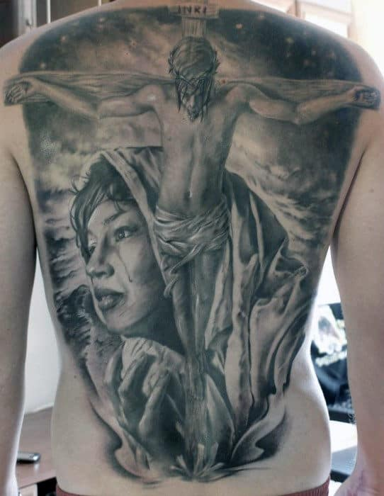Incredible Jesus Full Back Heavily Shaded Tattoos For Men