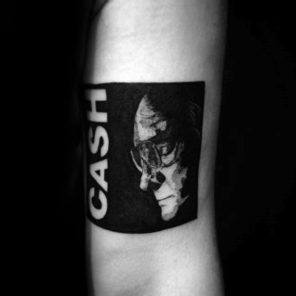 Incredible Johnny Cash Tattoos For Men Square Block On Arm