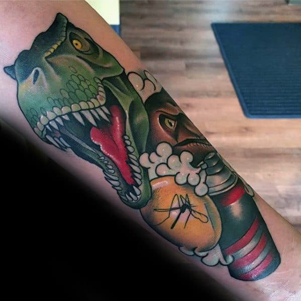 Incredible Jurassic Park Themed Forearm Tattoos For Men
