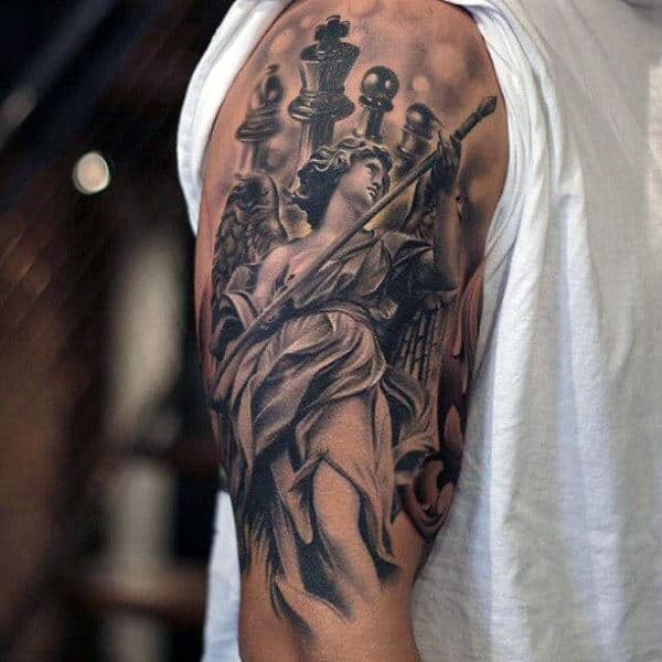 Incredible King Chess Piece Half Sleeve Shaded Male Tattoos