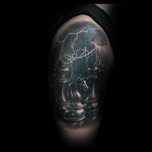 Incredible King Chess Piece With Storm Lighting Mens Half Sleeve Tattoo