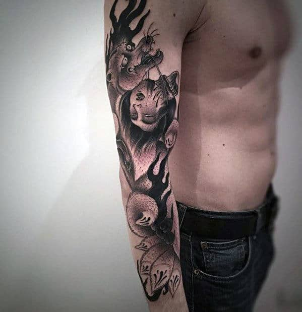 Incredible Kitsune Full Arm Guys Shaded Tattoo Ideas