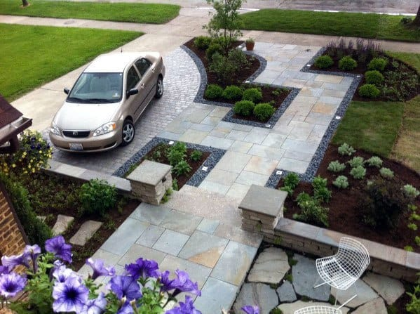 Incredible Landscaping Ideas For Driveway With Small Stone Patio
