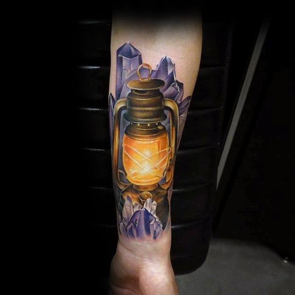 Incredible Lantern Crystal 3d Inner Forearm Tattoos For Men