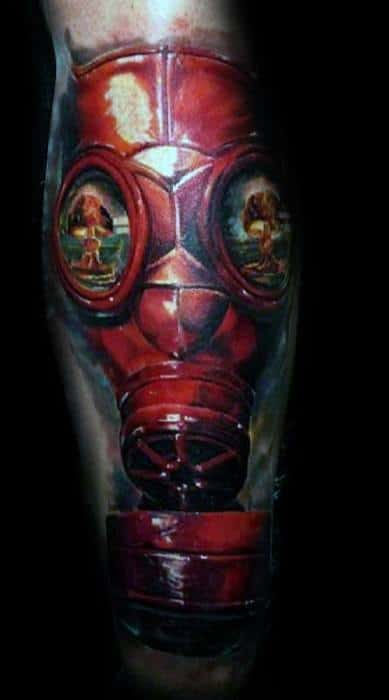 Incredible Leg 3d Red Gas Mask Mushroom Cloud Tattoos For Men