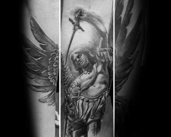 Incredible Leg Angel Statue Tattoos For Men