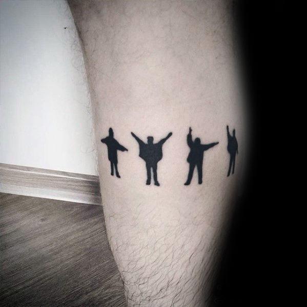 Incredible Leg Band Beatles Tattoos For Men