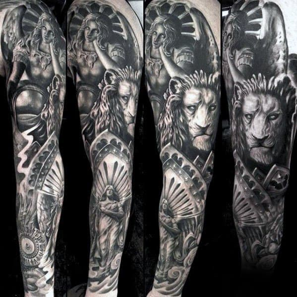 Incredible Lion Statue Full Arm Sleeve Tattoos For Men