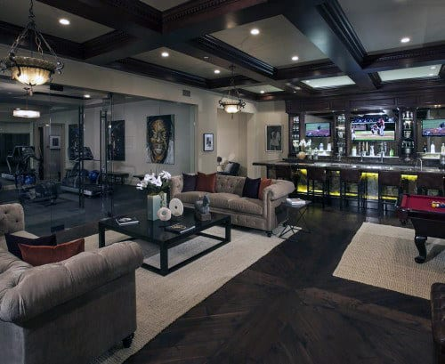 Incredible Luxury Basement With Indoor Private Gym Glass Walls
