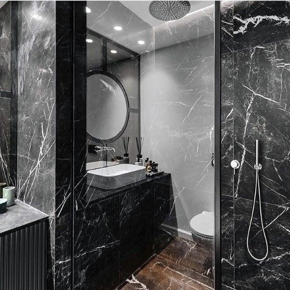 Incredible Luxury Marble Black Bathroom Shower Ideas