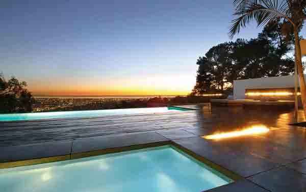 Incredible Luxury Pool With Modern Fireplace