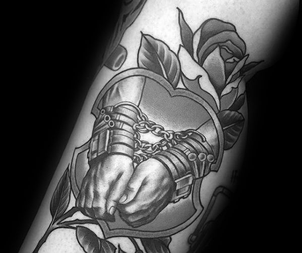 Incredible Magician Tharry Houdini Hands Chained Arm Attoos For Men