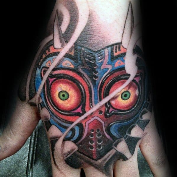 Incredible Majoras Mask Tattoos For Men On Hand