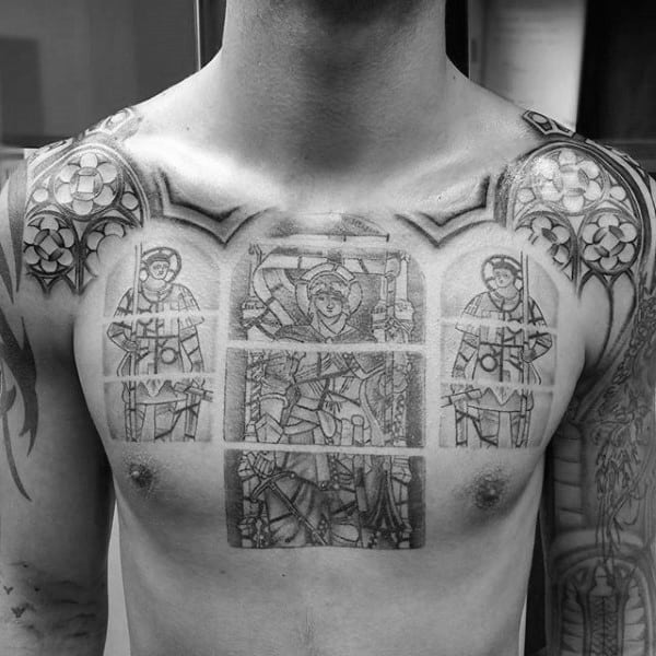 Incredible Male Chest Tattoo With Stained Glass Design