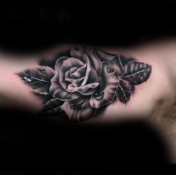 Incredible Male Realistic Rose Bicep Tattoos