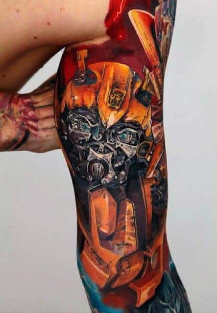 Incredible Male Transformers Themed Sleeve Tattoo