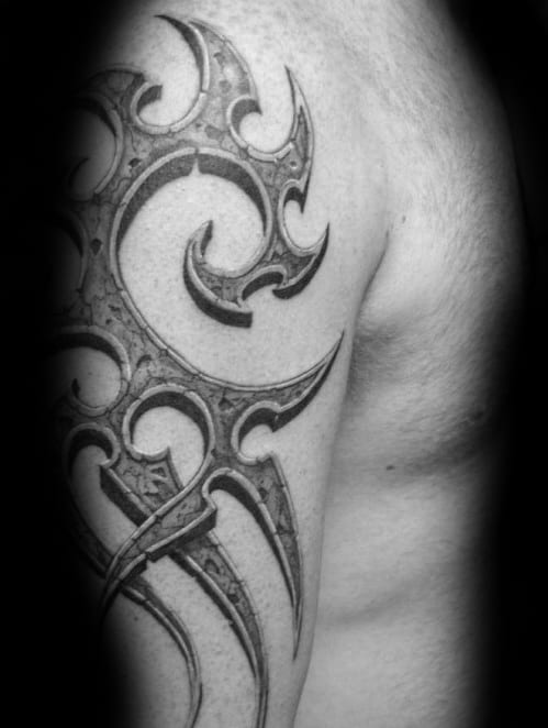 Incredible Mens 3d Tribal Arm Tattoo