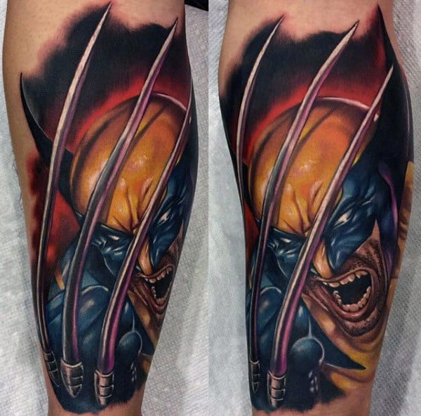 Incredible Mens 3d Wolverine Leg Sleeve Tatotos