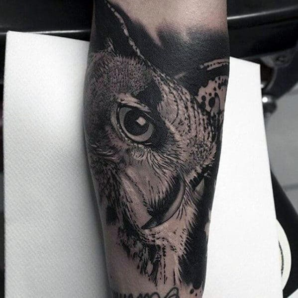 Incredible Mens Black And Grey Shaded Owl Inner Forearm Tattoo Designs