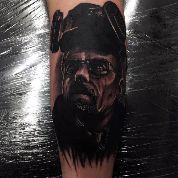Incredible Mens Breaking Bad Leg Calf Tattoo Designs