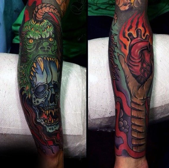 Incredible Mens Colorful Full Sleeve Heart Tattoos