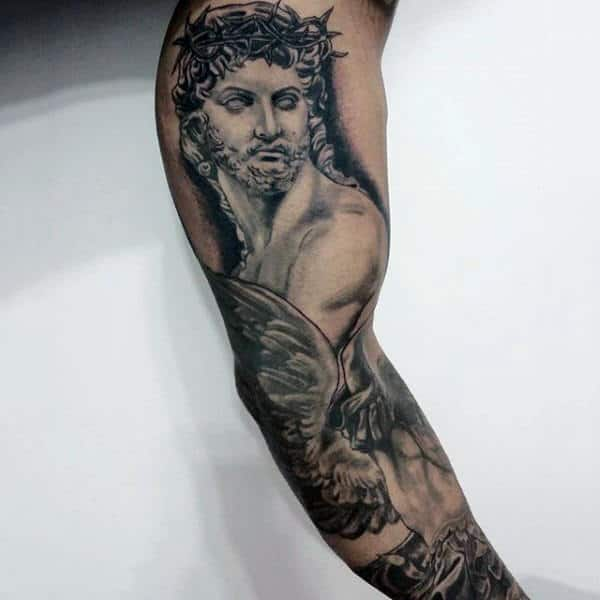 Incredible Mens Full Arm Jesus Sleeve Tattoo