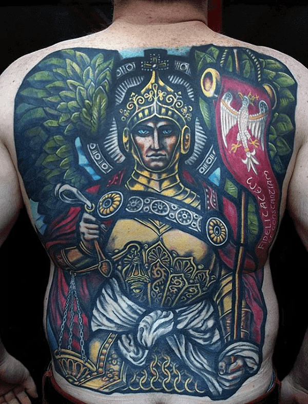 Incredible Mens Full Back Stained Glass Tattoo Design Ideas