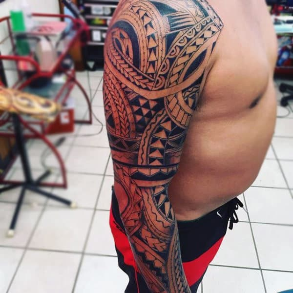 Incredible Mens Full Tribal Sleeve Tattoo Design Inspiration