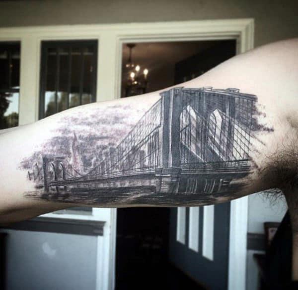 Incredible Mens Inner Arm Bicep Brooklyn Bridge Tattoo Designs