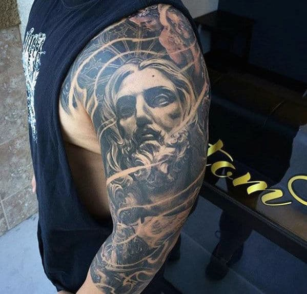 Incredible Mens Jesus Sleeve Tattoo Ideas