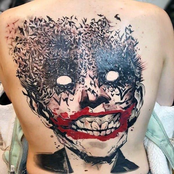 Incredible Mens Joker Full Back Bats Tattoo