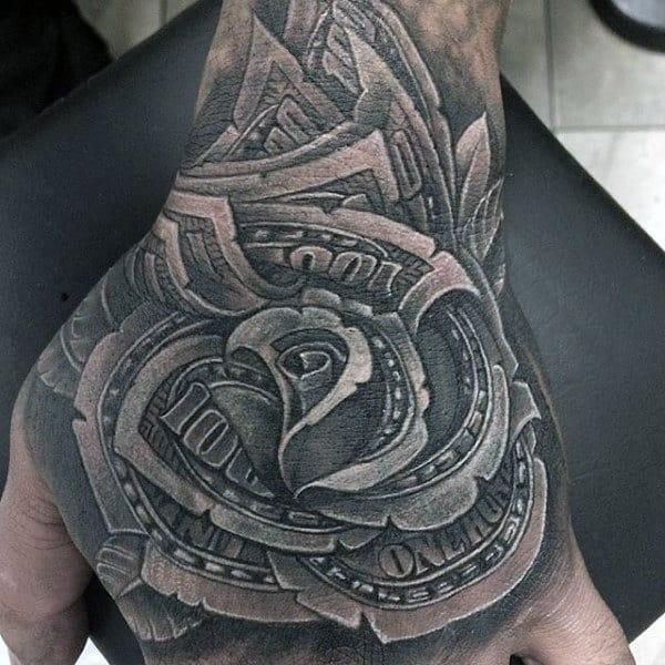 nexluxury money 7 rose hand tattoos
